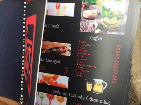 menu đẹp cho quán cafe