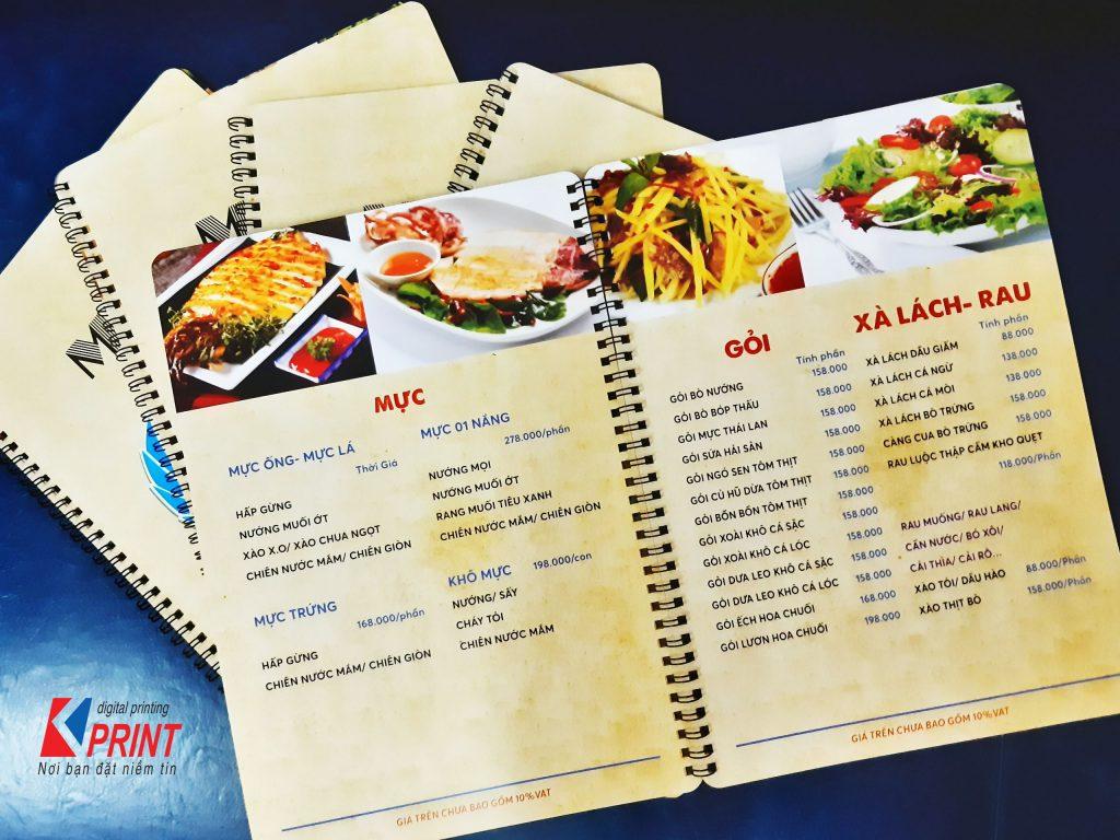 nơi nhận làm menu bìa da số lượng ít