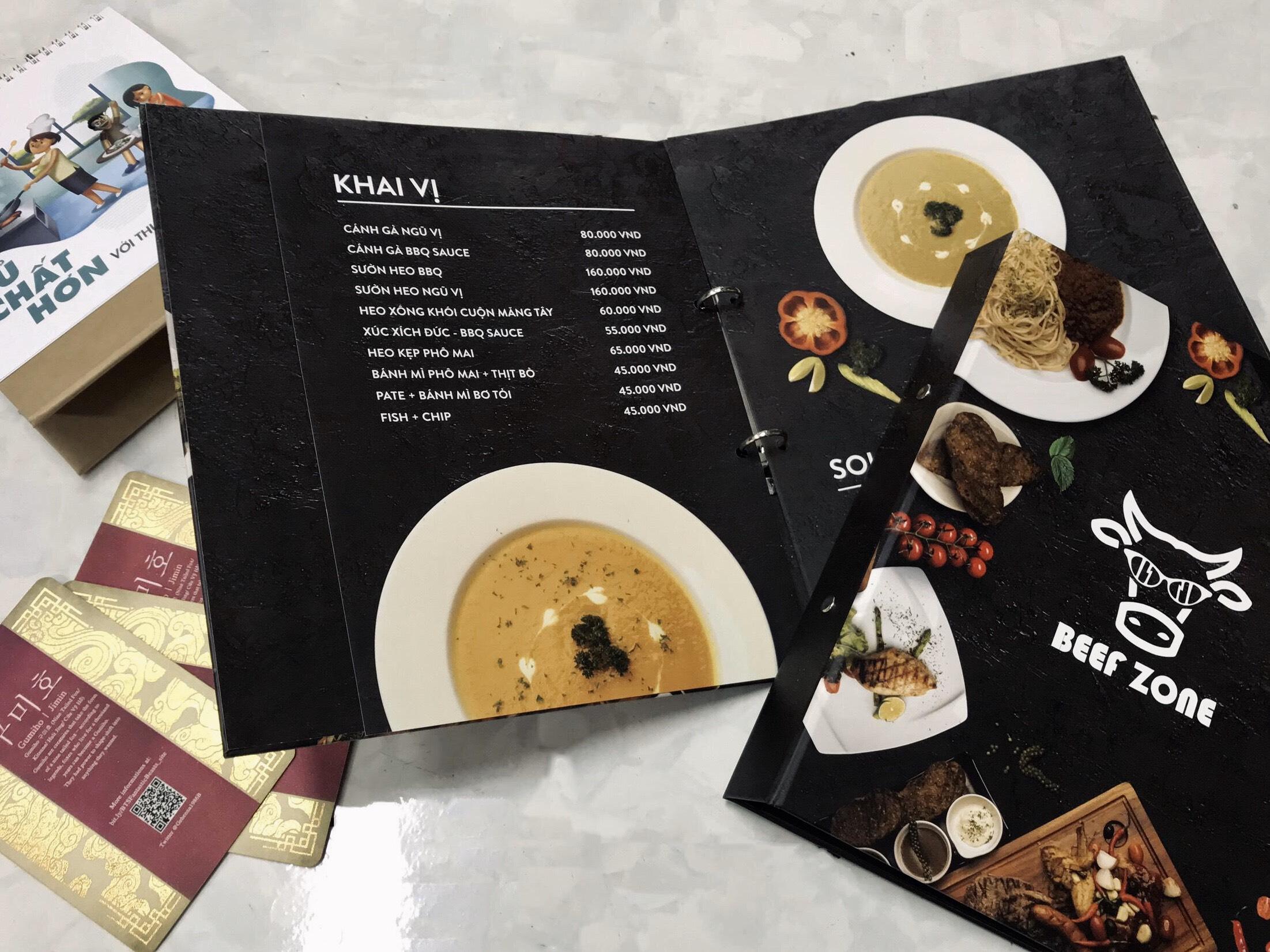 in menu không thấm nước và xé không rách